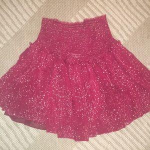 LoveShackFancy smock waist red skirt